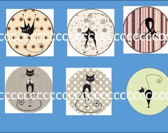 10 glass cabochons 20 mm cat theme