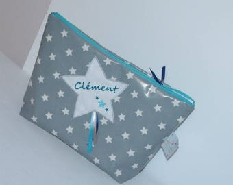 Custom toiletry bag in coated cotton gray Blue Star