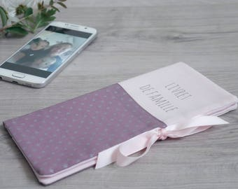 TO ORDER. Powder Pink stars silver fig family book cover