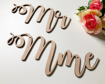 """""""Mr"""" & """"Mrs"""" decoration for wedding - Mr Mrs - decorative wood for the bride and groom chairs"""