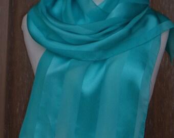 "Scarf, shawl ""Turquoise"" chiffon and silk satin hand painted."