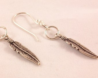 Feather earrings boho Silver 925