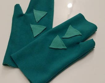 Mint and turquoise fleece mittens