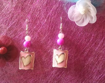 pink heart dangle earrings