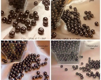 Brown ice pearls 4mm, 6mm, 8mm and 10mm glass