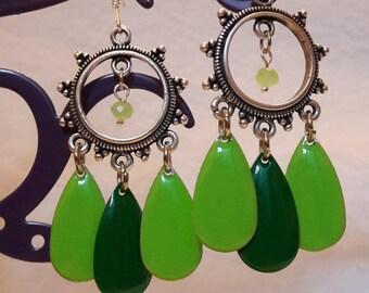Hoop earrings and green leaves sequins