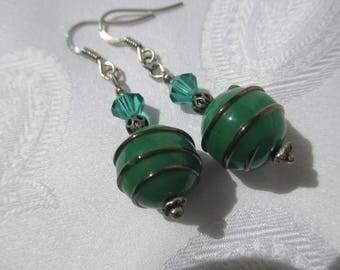 Green Pearl Earrings swarovski crystal and swirl
