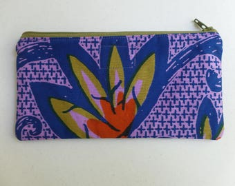 Pencil Case, Multi-use Bag, Cosmetics Pouch, Small Toiletries Purse, African Floral Print, Fully Lined, Zippered