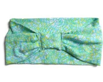 Wide Elastic Headband in Aqua Blue Cotton Knit