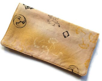 """Fabric Checkbook Cover 6.5""""x3.5"""", Coupons Wallet, Cash Holder Oriental Japanese Calligraphy"""
