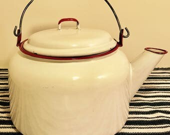 Vintage Red & White Enamelware Kettle