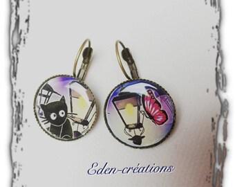 Earrings cabochon, cat, colorful, retro, vintage
