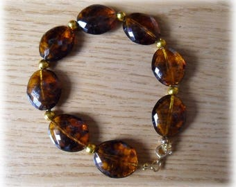 round Brown crushed pearl bracelet and gold spacers