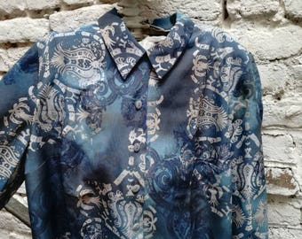 Shirt / Blouse / shirt printed blue 90s Vintage