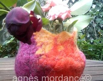 pot color Merino Wool felted - OOAK