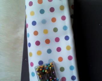 Creation of printed fabrics multicolored dots.