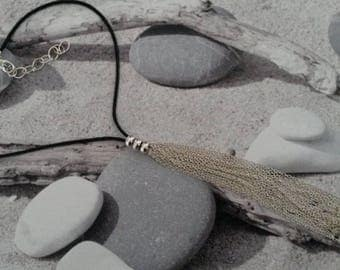Necklace silver chain tassel and 3 beads