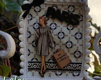 "Textile brooch ""Shopping Parisien"""