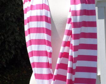 Snood scarf neck scarf women pink and white striped jersey