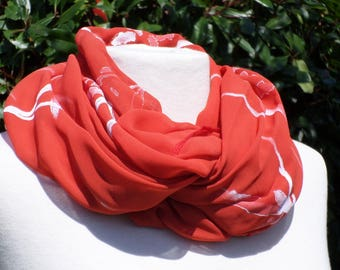 Snood scarf neck scarf red and white