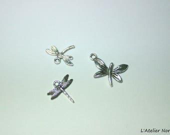 3 charms silver colour Dragonfly theme +/-2cm