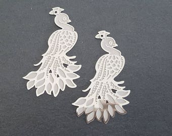 2 pendants print Peacock steel stainless 45x26mm