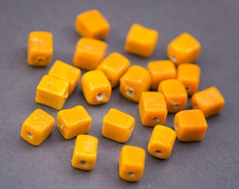 5pcs artisanal Indian • rectangle glass beads • orange • opaque cube shiny • 10 mm x 7mm