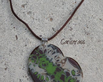 Polymer clay heart pendant necklace