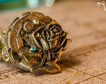 Ring adjustable steampunk - mechanical rose mechanical