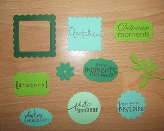 Set of 10 cutouts green embellishments for your pages and cards designs of scrapbooking.