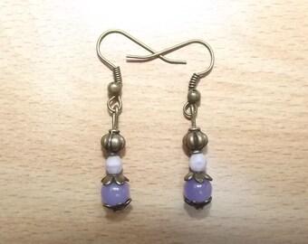 Purple earrings, handmade.