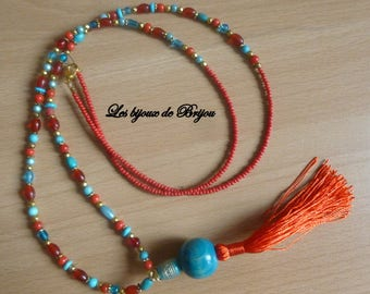 Bohemian turquoise, red and gold beaded tassel necklace wood and Pearl gold tone