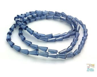 Prussian blue: 20 tapered glass beads with faceted AB 3.5x6mm (pv606)