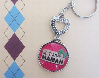 "Gift for MOM: Keychain ""I love you MOM"""