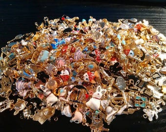 10 charms mixed plated gold