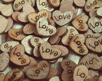 100 PCs natural Vintage wood wooden love heart