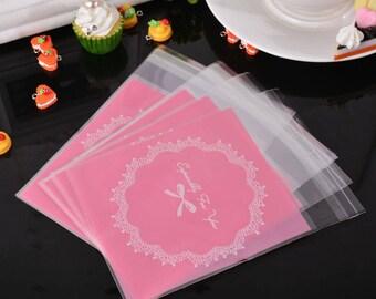 5 bags bags clutch plastic Auto-adhesif 14.8x9.9cm peachy pink