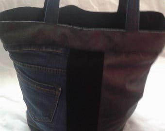 Fabric and denim tote bag old gray leather