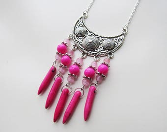 Beads and silver necklace ethnic Fuchsia/pink