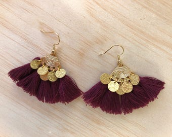 Gypsy earrings gold purple pom poms and sequins