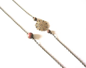 Necklace bronze engraving and unakite beads