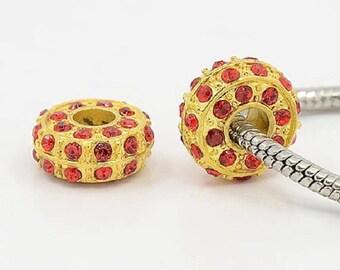1 Charms set red European beads 14 x 6 mm rhinestone gold