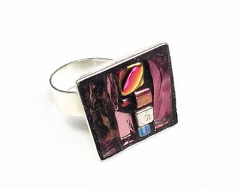 Mosaic pink square silver metal Adjustable ring