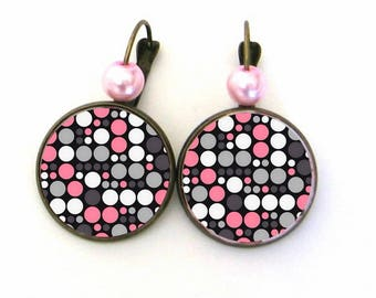 Cabochon 20mm jewel earrings * pink-grey-white polka dots *.