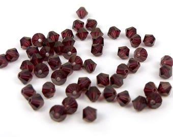 50 x® 4 mm BURGUNDY Swarovski Crystal bicones