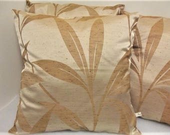 Pillow cover, satin gold brocaded way dupion silk, woven foliage blooming, unique, chic, cocooning, cozy passionnementseize