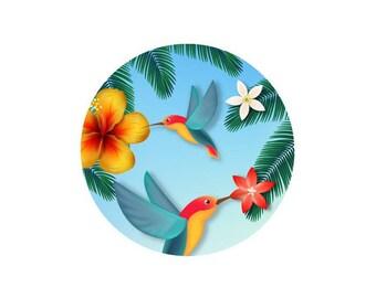 1 cabochon 30 mm glass tropical Hummingbird Duo - 30 mm