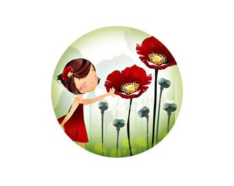 1 cabochon 25 mm glass round Collection poppy girl 2-25 mm