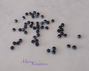 90 faceted glass beads - blue night 3 X 2 mm