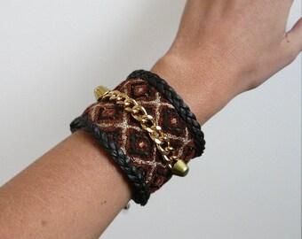 Golden chocolate velvet with geometric patterns, chain Cuff Bracelet